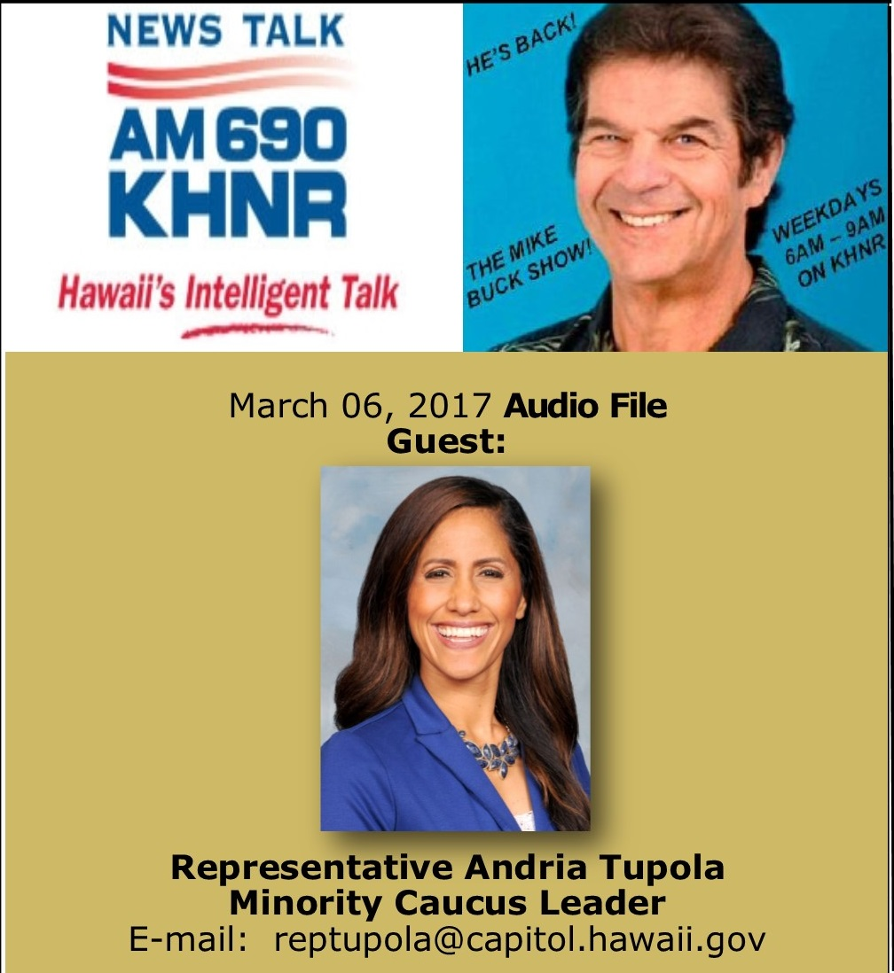 March 06, 2017 MIKE BUCK with Rep. Andria Tupola