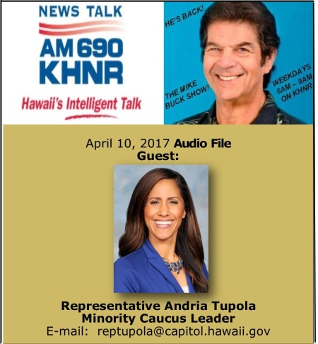 APril 10, 2017 MIKE BUCK with Rep. Andria Tupola